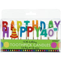 Dots and Stripes 40th Birthday Cake Candle Picks