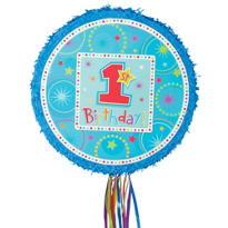 Pull String Round Blue 1st Birthday Pinata