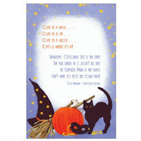 Cat, Hat, and Pumpkin Halloween Custom Invitation