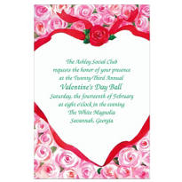 Ribbon Heart with Roses Custom Valenitnes Day Invitation