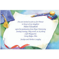Graduation with Fountain Pen Custom Invitation