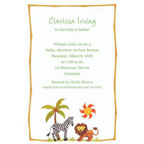 Zebra & Friends Custom Baby Shower Invitation