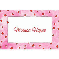 Red Hearts on Pink Custom Valentines Day Thank You Note