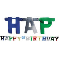 Metallic Happy Birthday Letter Banner 7 1/3ft
