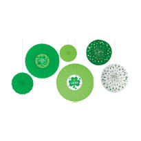 St. Patricks Day Paper Fan Decorations 6ct