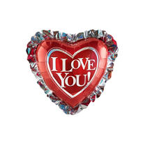 Holographic I Love You Ruffle Heart Balloon 28in