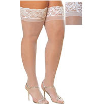 Adult Sheer White Thigh High Stockings Plus Size
