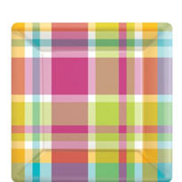 Summer Plaid Dessert Plates 8ct