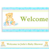 Blue Precious Bear Boy Custom Baby Shower Banner