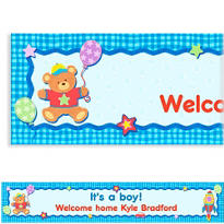 Boy Hugs & Stitches Custom Baby Shower Banner 6ft