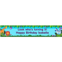 Jungle Animals Custom Birthday Banner 6ft