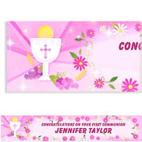 Pink First Communion Custom Banner 6ft
