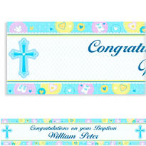 Sweet Christening Boy Custom Banner 6ft