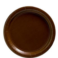 Chocolate Brown Paper Lunch Plates 50ct