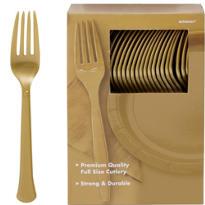 Gold Premium Plastic Forks 100ct