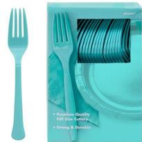 Robin's Egg Blue Premium Plastic Forks 100ct