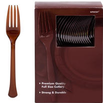 Chocolate Brown Premium Plastic Forks 100ct