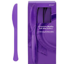 Purple Premium Plastic Knives 100ct