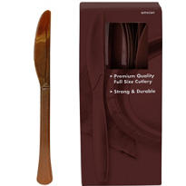 Chocolate Brown Premium Plastic Knives 100ct