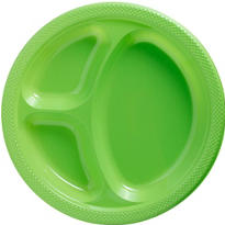 Kiwi Plastic Divided Dinner Plates 20ct