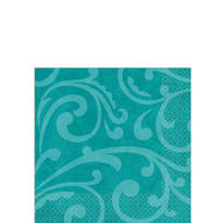 Turquoise Brocade Beverage Napkins 5in 16ct