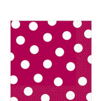 Raspberry Polka Dot Lunch Napkins 6 1/2in 36ct
