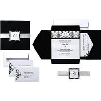 Black & White Scroll Square Pocket Printable Wedding Invitations Kit 25ct