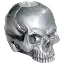 Silver Skull Tea Light Holder 3 1/2in x 4 1/2in