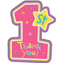 Pink Hugs & Stitches 1st Birthday Thank You Notes 8ct