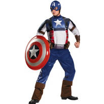 Adult Captain America Costume Plus Size Deluxe - First Avenger