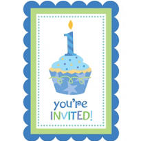 Blue Sweet Little Cupcake 1st Birthday Invitations 8ct