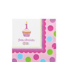 Pink Sweet Little Cupcake Beverage Napkins 36ct