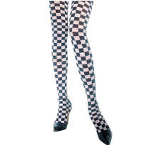 Adult Black and White Checkerboard Pantyhose