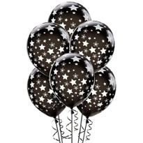 Latex Black Star Printed Balloons 12in 6ct