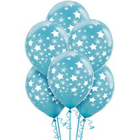 Caribbean Blue Star Balloons 6ct