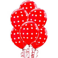 Latex Red Polka Dots Printed Balloons 12in 6ct