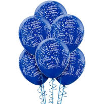 Latex Royal Blue Confetti Birthday Printed Balloons 12in 6ct