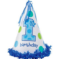 Blue 1st Birthday Party Hat