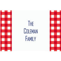 American Summer Red Gingham Custom Thank You Note