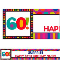 Birthday Dots & Stripes 60 Custom Banner 6ft