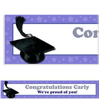Purple Congrats Grad Custom Graduation Banner 6ft