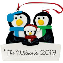 Family of Three Personalized Christmas Ornament 3 1/2in x 3in