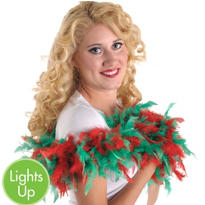 Light-Up Christmas Feather Boa