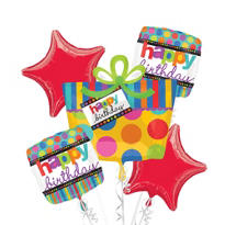 Dots & Stripes Happy Birthday Balloon Bouquet 5pc
