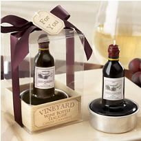 Vintage Reserve Wine Bottle Tea Light Wedding Favor 4ct