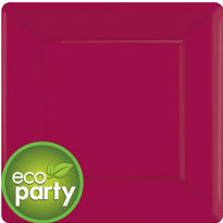 Eco Friendly Raspberry Square Paper Dinner Plates 10in 20ct