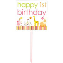 Sweet At One Girls 1st Birthday Yard Sign 28in x 15in