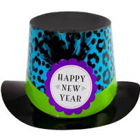 Zebra Print New Years Top Hat 6in