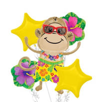 Foil Luau Monkey Boy Balloon Bouquet 5pc