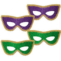 Mardi Gras Glitter Eye Masks 4ct